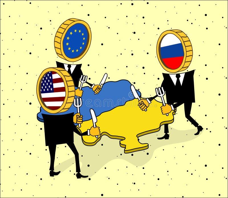 欧洲、美国和俄罗斯要吃乌克兰。 库存例证