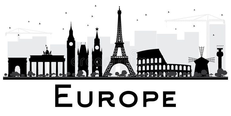 欧洲与地标的地平线剪影 向量例证