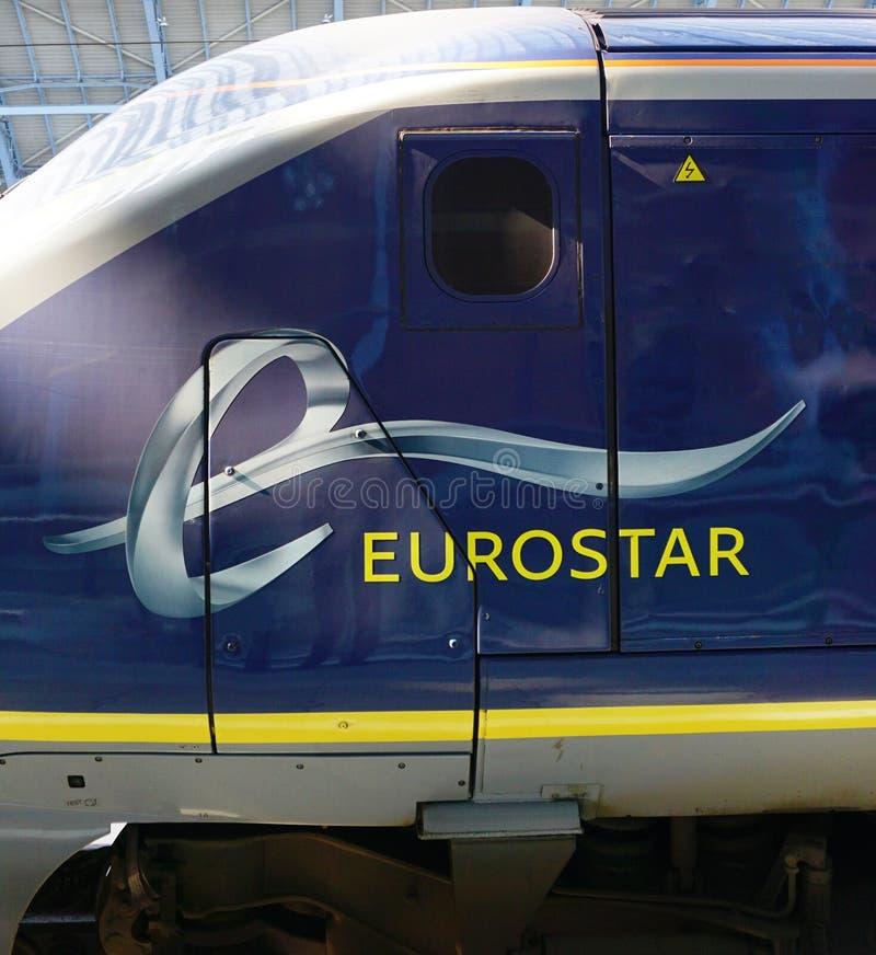 欧洲之星在伦敦训练圣Pancras驻地 库存照片