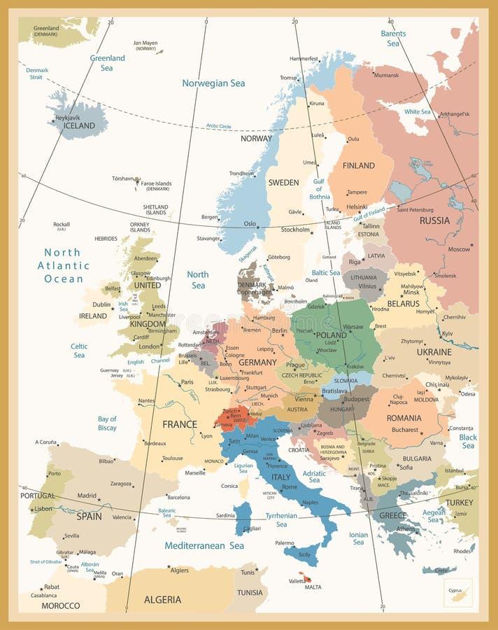 欧洲减速火箭的颜色政治地图  皇族释放例证