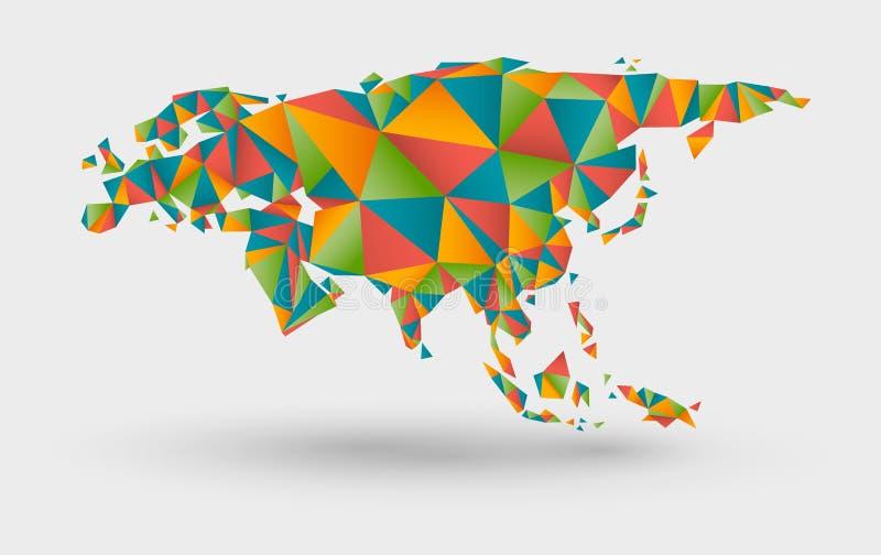 欧洲和亚洲的Origami地图 库存例证