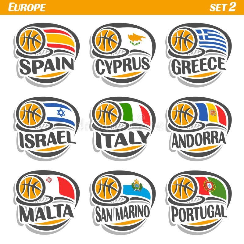 欧洲国家传染媒介集合旗子有篮球球的 库存例证