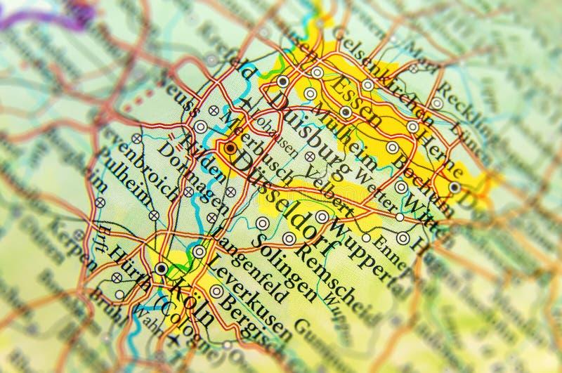 欧洲国家比利时地理地图有重要城市的 免版税库存图片
