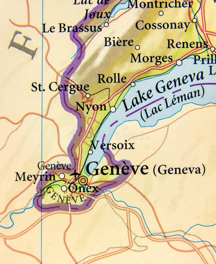 欧洲国家瑞士地理地图有日内瓦市的 库存图片