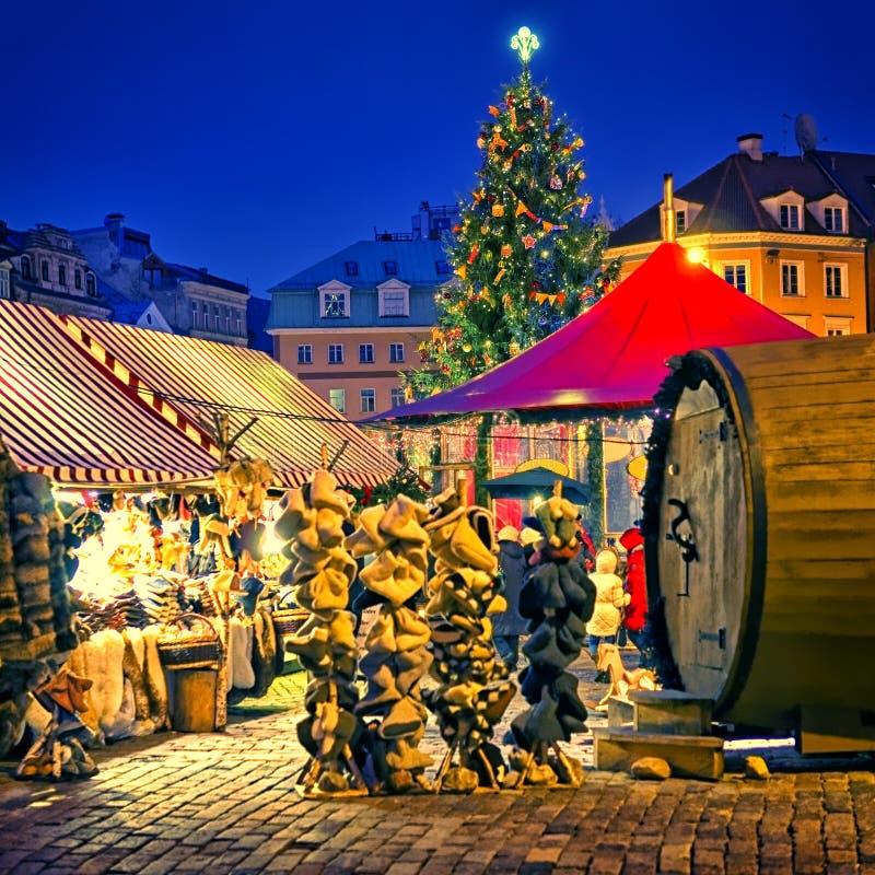 欧洲圣诞节集市广场 免版税库存照片