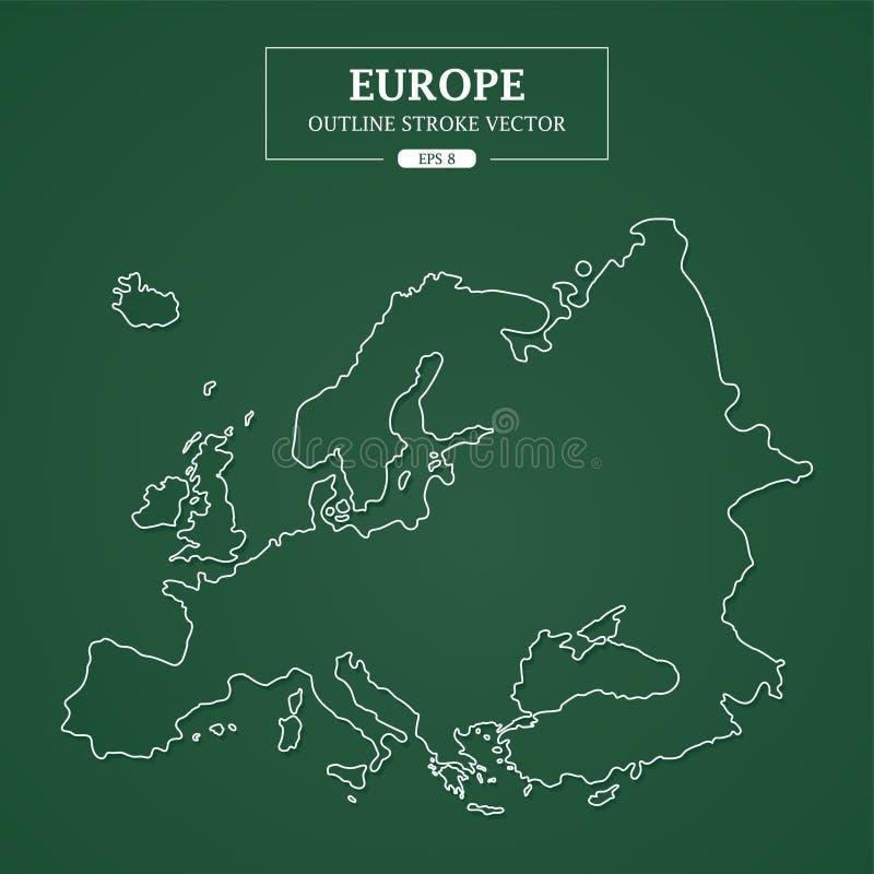 欧洲地图在绿色背景的概述冲程 向量例证