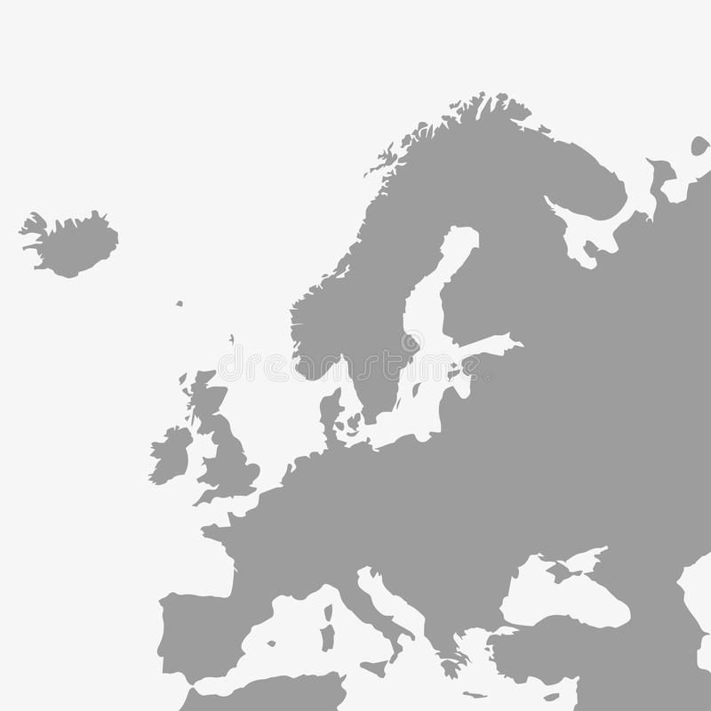 欧洲地图灰色的在白色背景 皇族释放例证