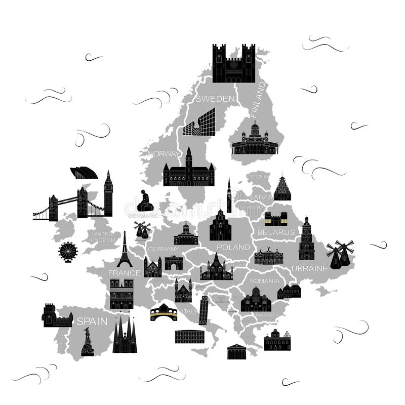 欧洲地图黑色 库存例证