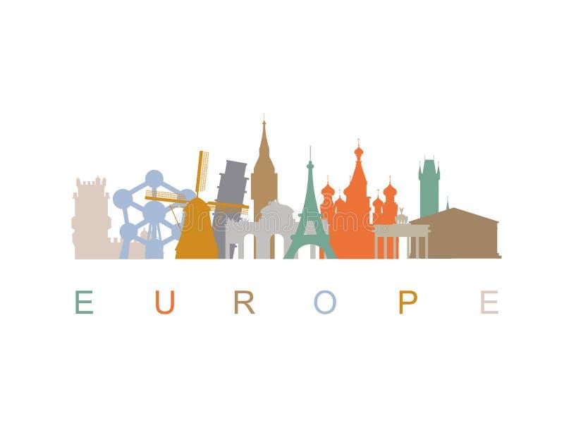 欧洲地平线地标剪影 向量例证