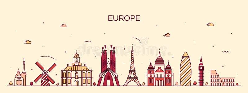 欧洲地平线详细的剪影线艺术样式 皇族释放例证