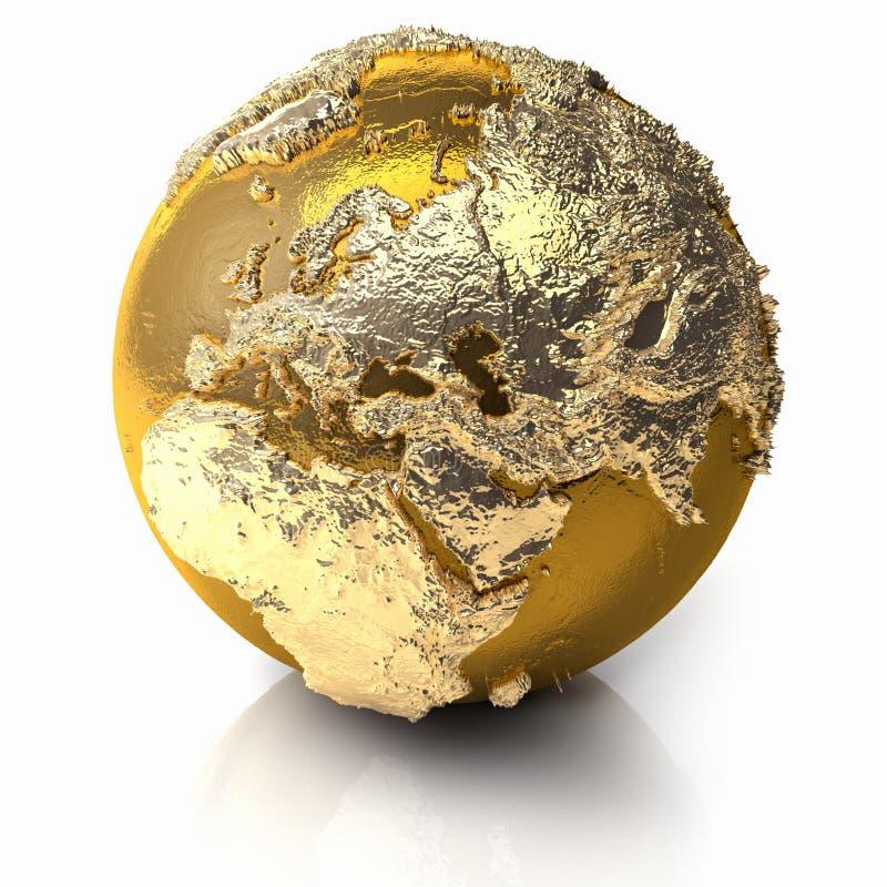 欧洲地球金子 向量例证