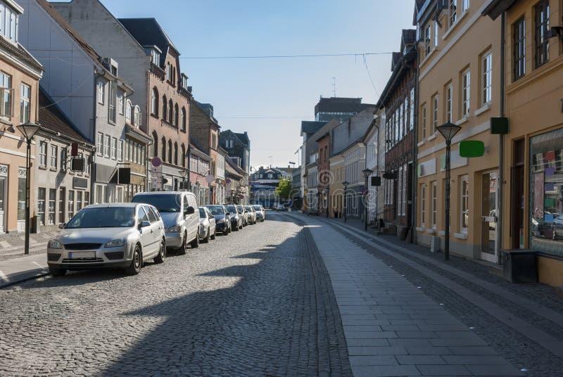 欧登塞丹麦老购物街道 免版税图库摄影