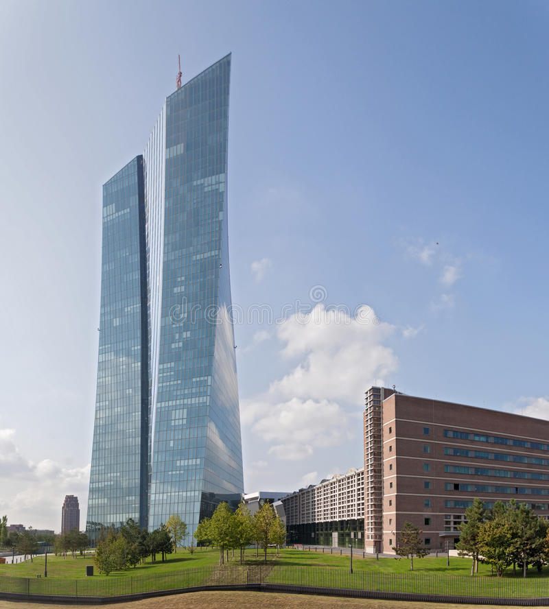 欧洲央行的新的位子在法兰克福 免版税图库摄影