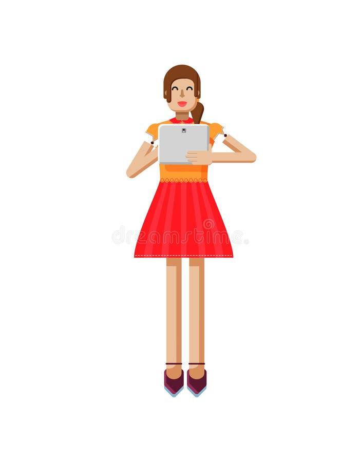 欧洲女孩的例证有棕色头发的在红色飘动了裙子,女衬衫,触摸屏,膝上型计算机 皇族释放例证