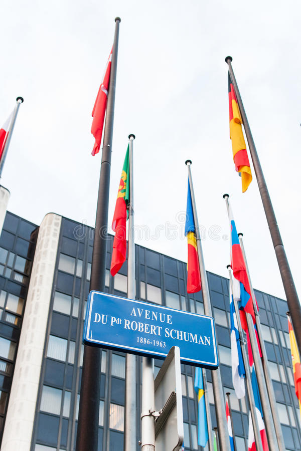欧洲委员会外部与所有欧盟成员Fla的 图库摄影