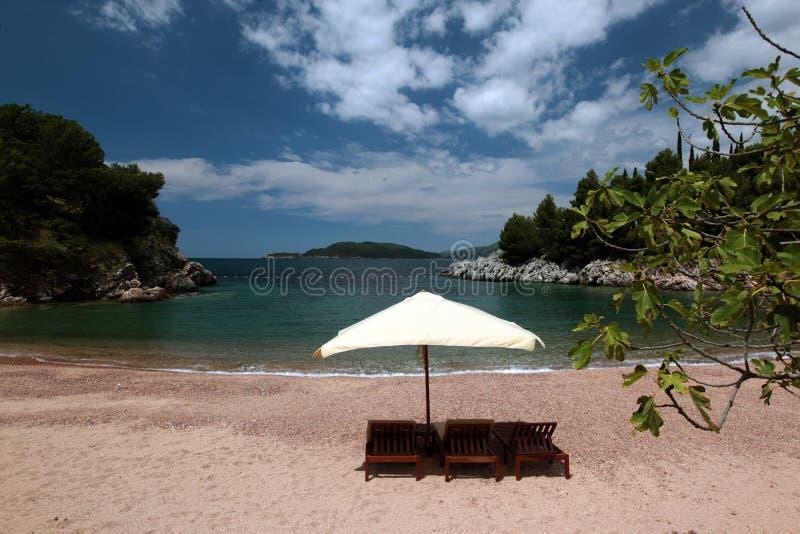 欧洲巴尔干黑山MILOCER海滩 免版税图库摄影