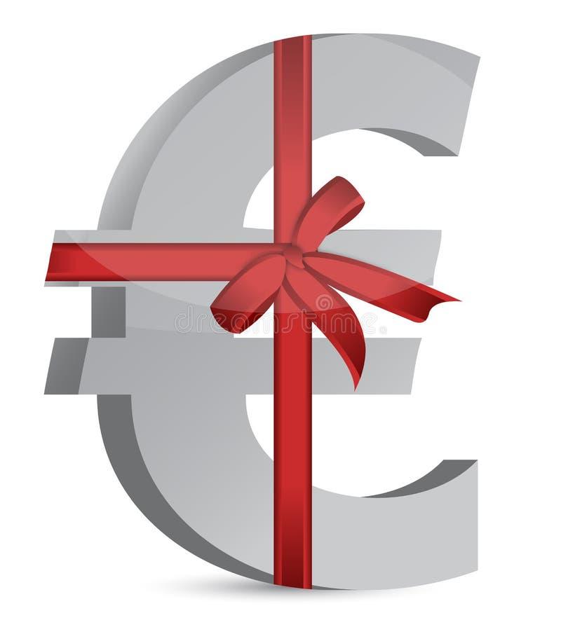 欧洲货币符号和丝带 皇族释放例证
