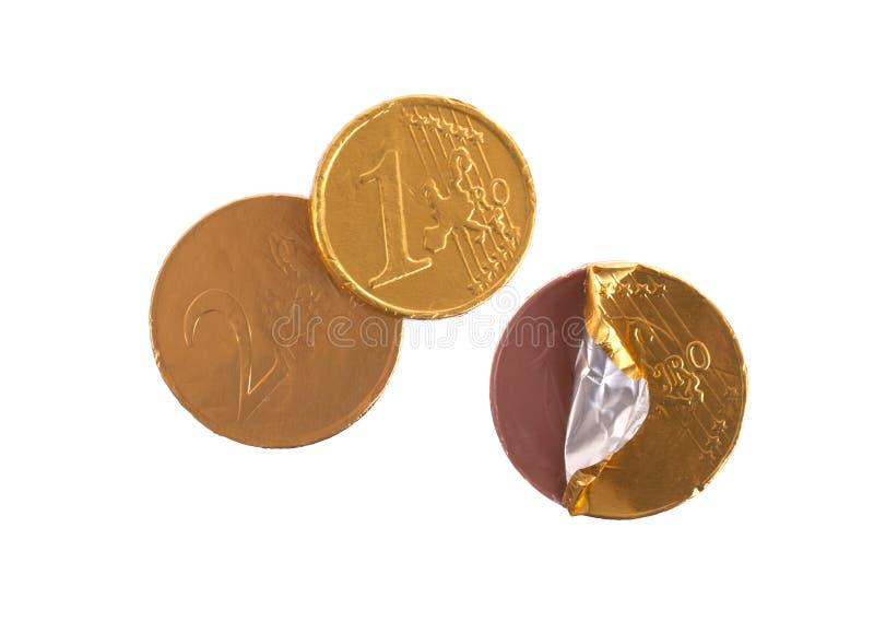 欧洲货币,在白色隔绝的巧克力硬币 免版税库存图片