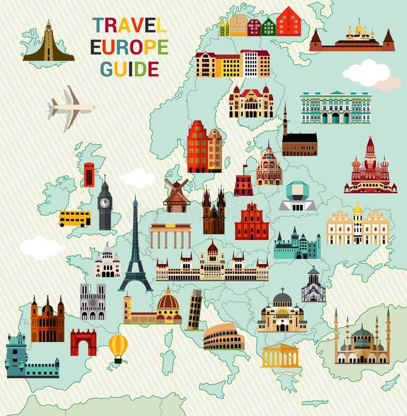 欧洲旅行地图 向量例证