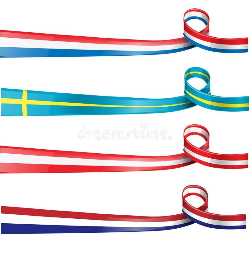 欧洲旗子丝带旗子集合 库存例证