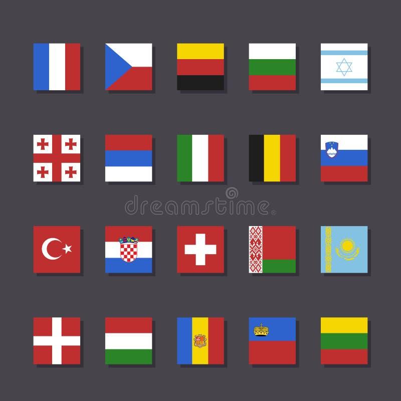 欧洲旗子象集合地铁样式 向量例证