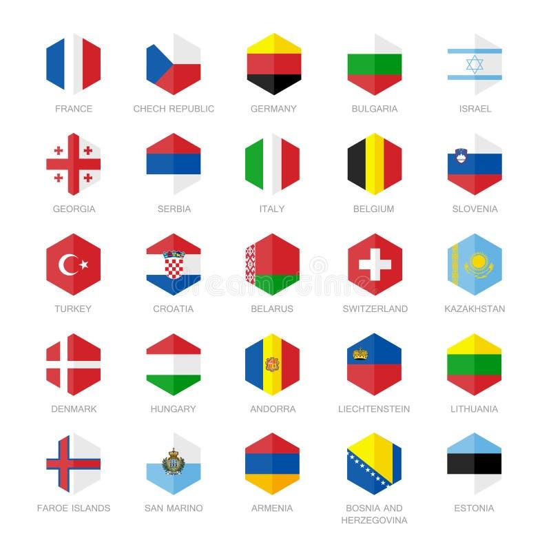 欧洲旗子象 六角形平的设计 库存例证