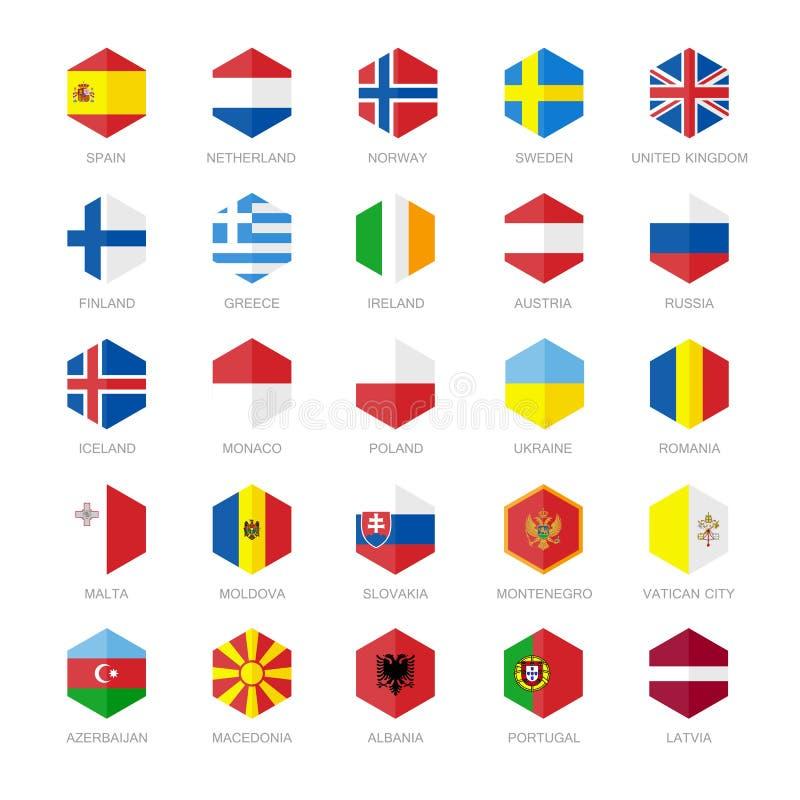 欧洲旗子象 六角形平的设计 向量例证