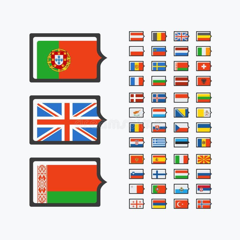 欧洲旗子,套传染媒介平的象 皇族释放例证