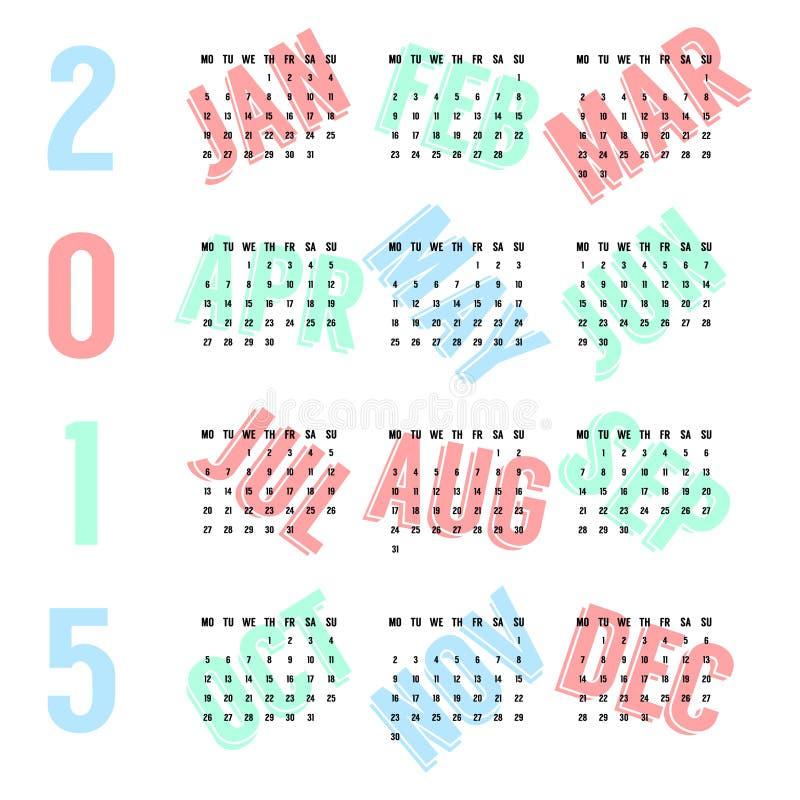 2015年黑欧洲日历色的月 库存例证