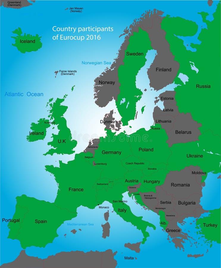 欧洲杯子地图 向量例证