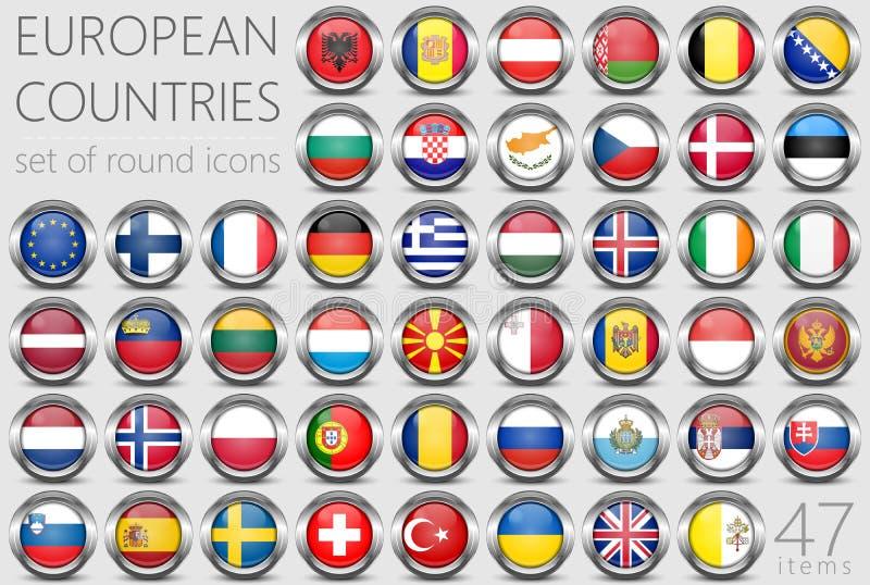 欧洲标志 金属圆的象 库存例证