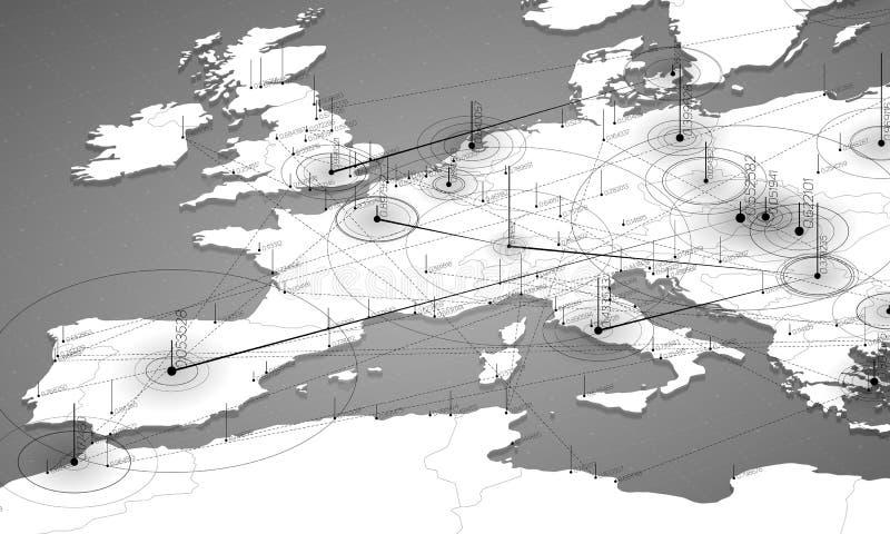 欧洲灰色极谱地图大数据形象化 infographic未来派的地图 信息美学 视觉数据复杂性 向量例证