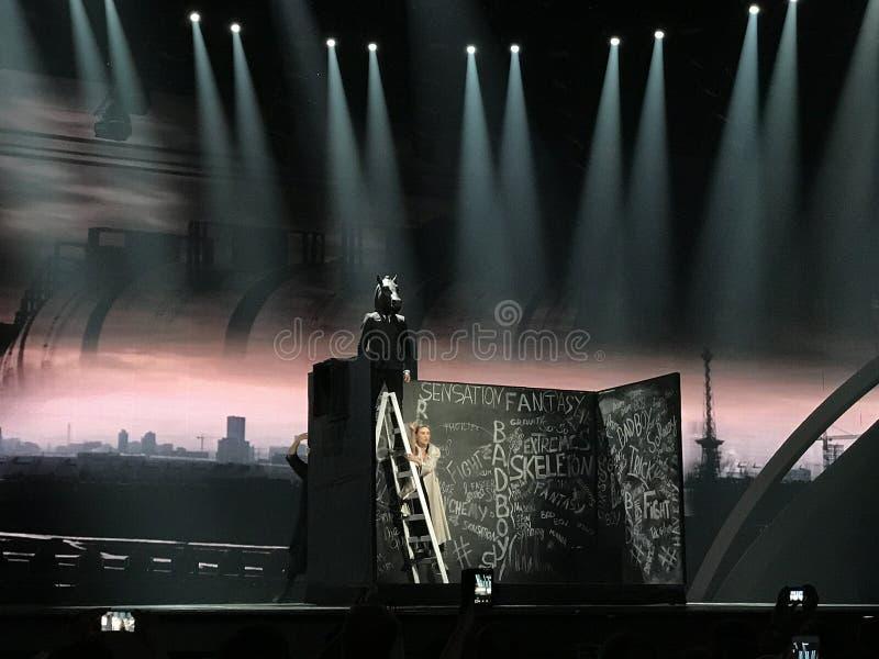 欧洲电视网决赛在国际Exhib的阶段的2017年 免版税库存图片
