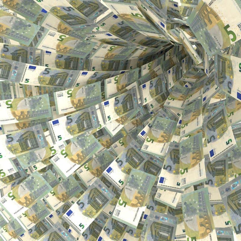 5欧洲笔记金钱漩涡  库存照片