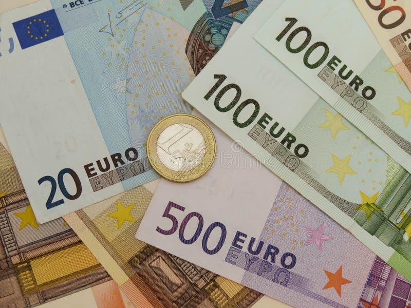 欧洲纸币和硬币 免版税图库摄影