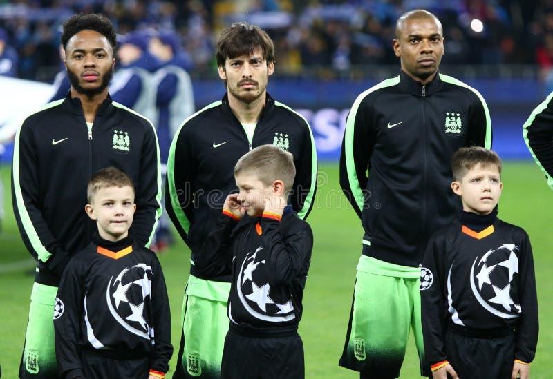 欧洲联赛冠军杯比赛基辅迪纳摩对曼城队 免版税图库摄影