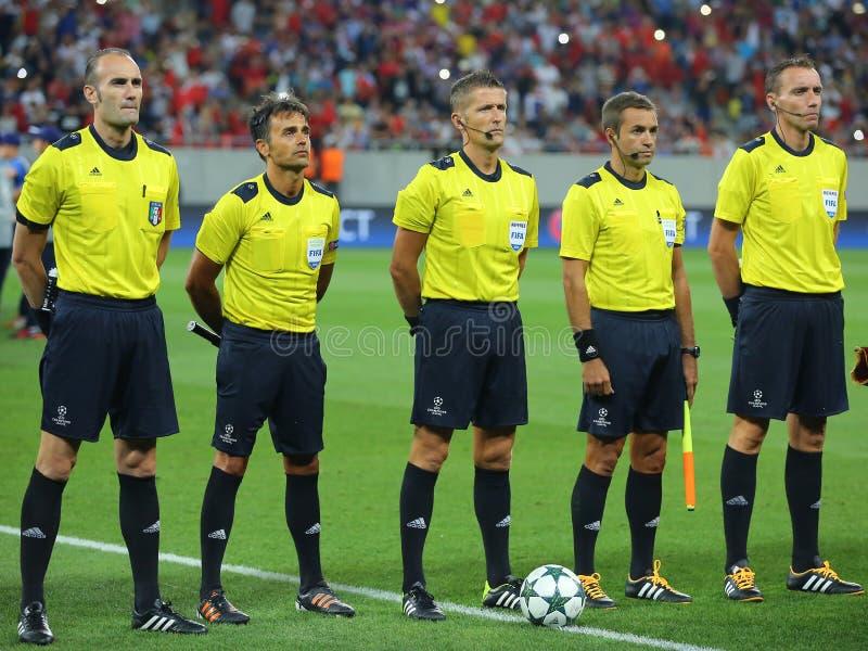 欧洲联赛冠军杯裁判员旅团 免版税库存图片