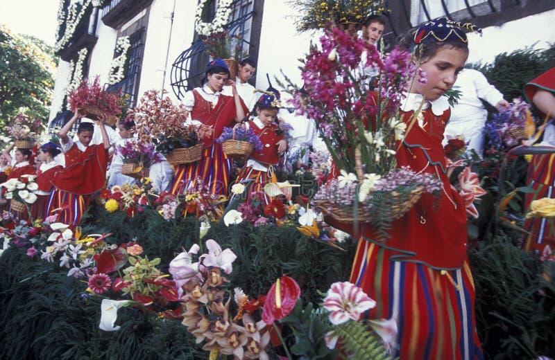 欧洲葡萄牙马德拉岛丰沙尔花节日 免版税图库摄影