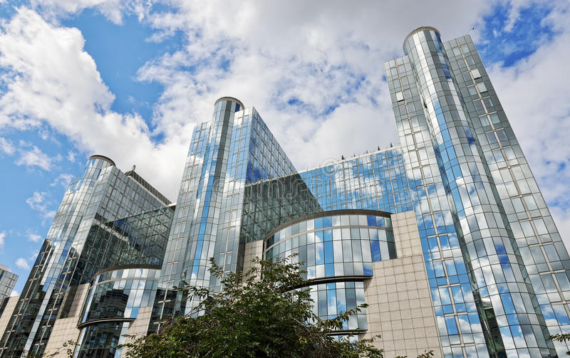 欧洲议会现代大厦在布鲁塞尔 图库摄影
