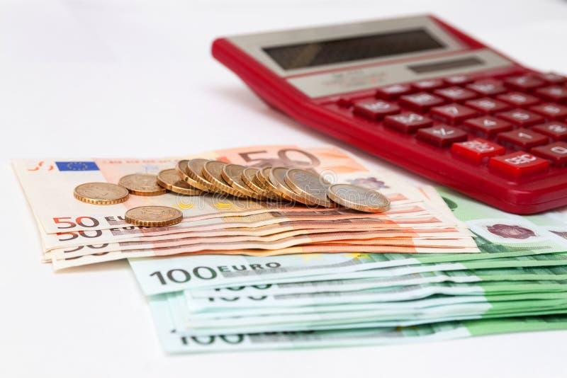 欧洲金钱和计算器 免版税库存图片