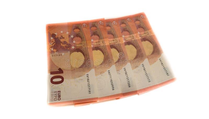 欧洲金钱钞票,十个10euros货币银行 免版税图库摄影