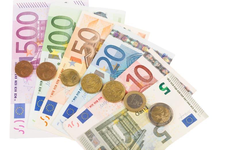 欧洲钞票和硬币 库存照片