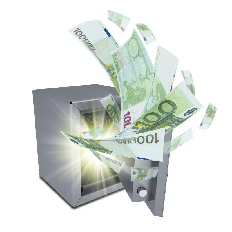 欧洲钞票从一个开放保险柜散发 向量例证