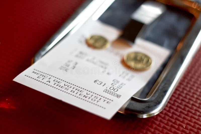 欧洲餐馆检查 免版税库存图片