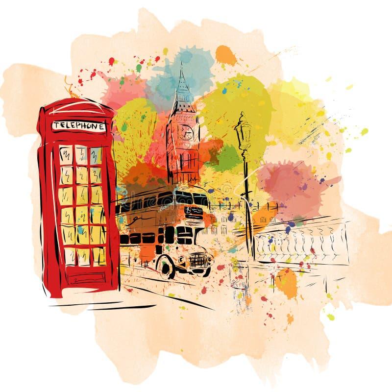 欧洲首都,剪影,伦敦,现代派样式 向量例证