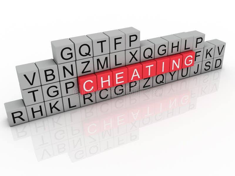 欺诈使用字母表立方体的词。 库存例证