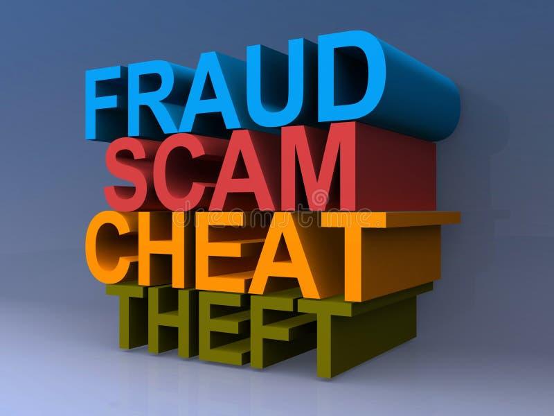 欺骗,诈欺,欺诈,偷窃图表 库存例证