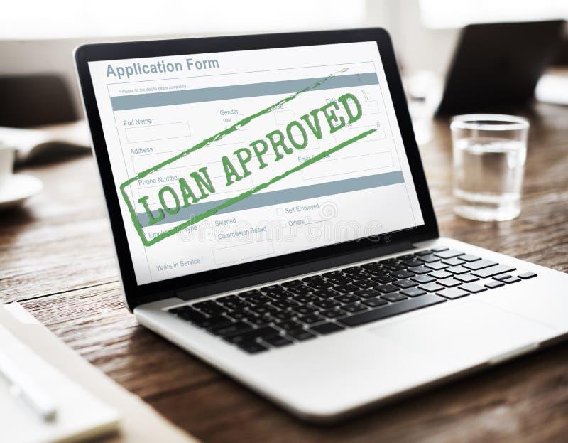 贷款被批准的被接受的申请表概念 库存图片