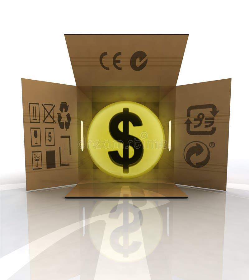 付款以被定购的物品交付的美元 向量例证