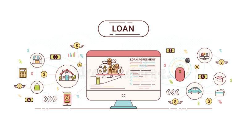 贷款Infographics设计观念 在债权人和债家之间的贷款协议 也corel凹道例证向量 库存例证